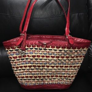 Gorgeous Brighton red leather/straw shoulder bag